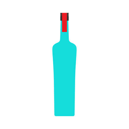 Vodka bottle liquid pub alcohol closeup vector symbol icon. Glass product drink shop