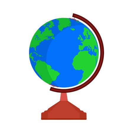 Signo del icono del vector del mundo del mapa de la tierra del globo. Forma de esfera de planeta de viaje global. Símbolo de educación plana atlas simple