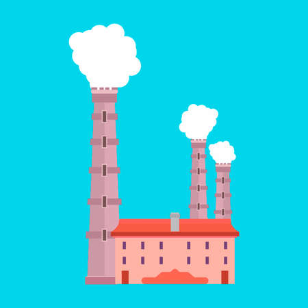 Factory industry production vector icon environment. Pollution smoke architecture refinery. Building manufacturing