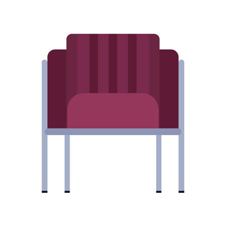 Armchair front view furniture vector icon illustration isolated. Modern interior comfortable home seat relax flat element Ilustrace