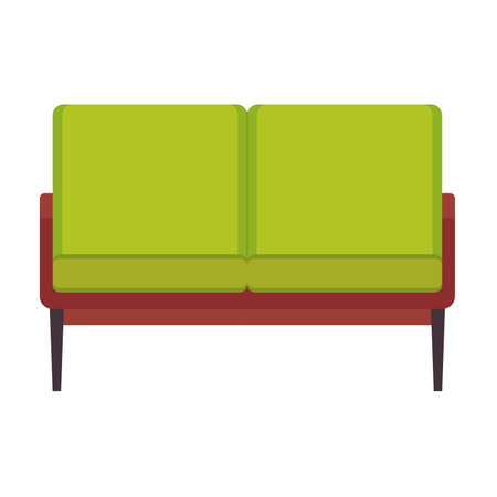Settee furniture vector icon front view. Home couch moder interior flat style. Cushion sofa living room horizontal rectangle