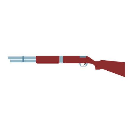 Shotgun illustration rifel vector icon. Hunting gun weapon barrel target. Munition brown simple caliber duck