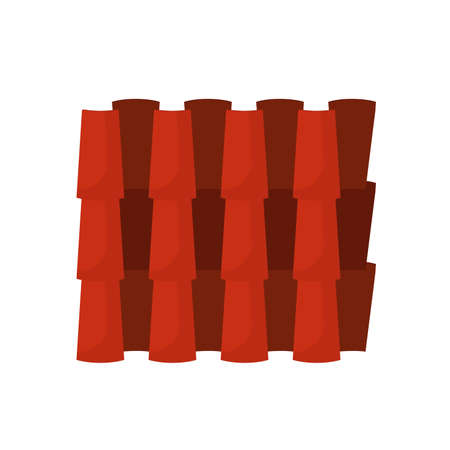 Tiled rood house vector icon pattern building ceramic cover. Seamless repeat row clay. Terracotta wavy orange waterproof