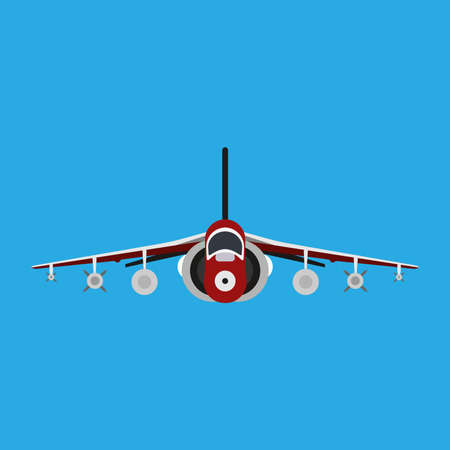 Military aircraft vector icon front view. Aviation air fighter jet. War plane advanced. Interceptor speed game navy vehicle