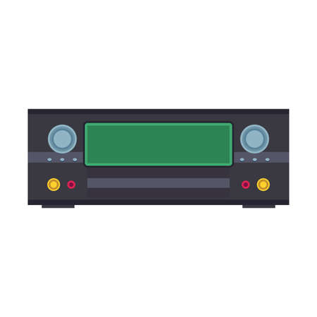 DVD player electronic illustration vector icon. Digital disc black equipment cinema and music. Video record control flat