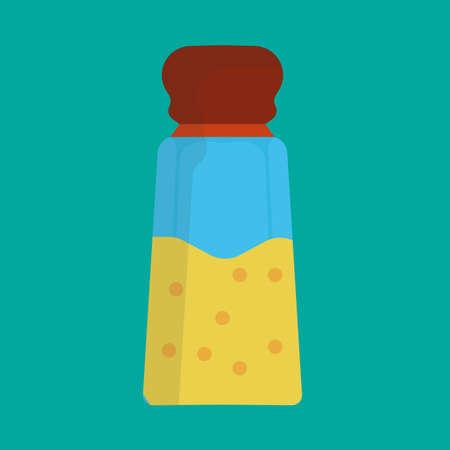 Salt shaker vector icon illustration food kitchen. Spice ingredient cooking glass bottle isolated. Pepper flavor powder grinder