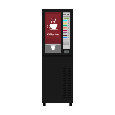 Vending machine coffee vector icon business drink. Buy food automatic dispenser beverage. Public service sell snack