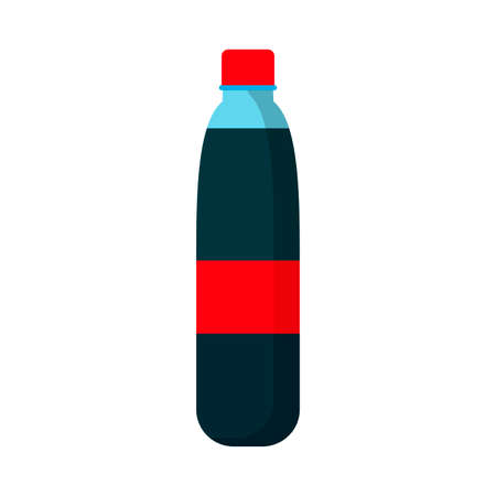 Juice bottle flat symbol red label vector icon. Glass silhouette lemonade drink. Summer soda beverage product Vettoriali