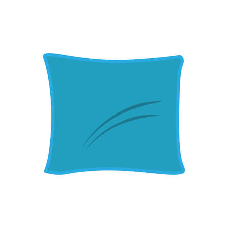 Pillow bed illustratiob cushion comfortable design isolated white vector icon. Cotton sleep feather soft home bedroom Illustration