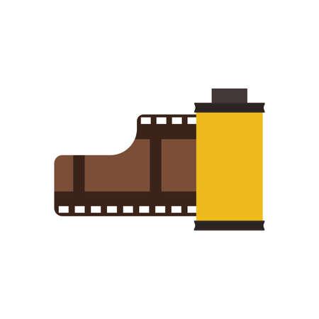 Film roll symbol technology cinema vector icon. Strip video analog reel circle tape. Vintage negative frame hollywood