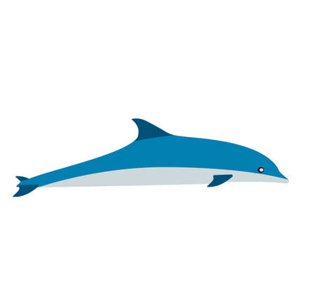 Dolphin blue mammal art graphic symbol vector icon. Animal sea aquarium show illustration side view.