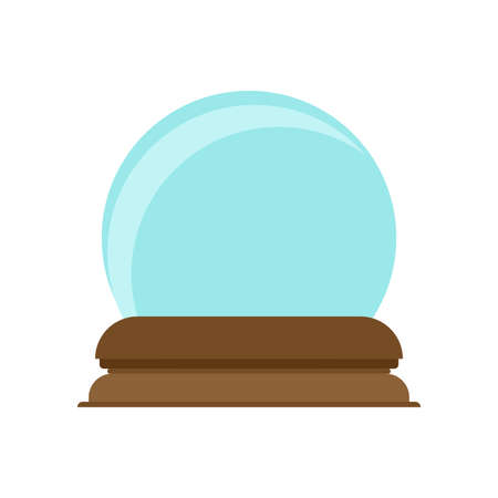 Crystal ball decoration magic glass symbol vector icon. Future bright blue sphere teller. Snow globe fantasy orb