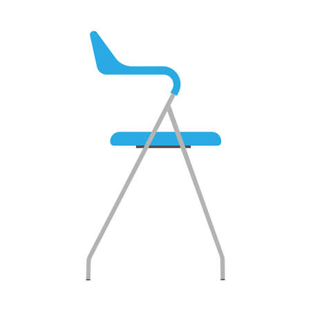 Chair blue side view wooden vector icon. Office comfortable symbol relaxation furniture equipment Stock Illustratie
