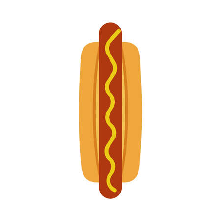 Hot dog dinner unhealthy delicious fastfood top view vector icon. Graphic food red sausage breakfast with yellow sauce.  イラスト・ベクター素材