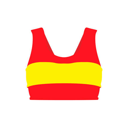 Sports bra red apparel clothing body illustration symbol vector icon. Dress woman swimsuit fitness yoga isolated white