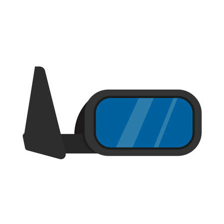 Car mirror side view vector icon. Transportation design black part vehicle equipment. Wing transport glass window rearview