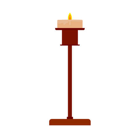 �¡andlestick holder decoration traditional symbol religious flat brass candle vector icon. Elegant ancient  luxury light