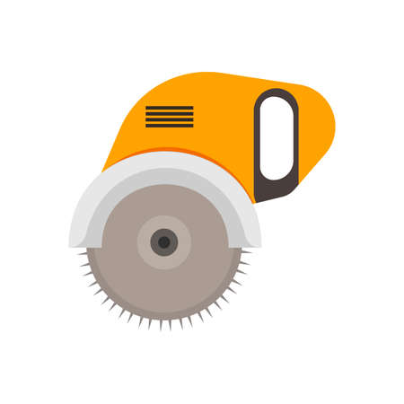 Scie électrique à technologie manuelle professionnelle d'ingénierie de l'acier industriel. Icône de vecteur de lame d'outil électrique rotatif circulaire