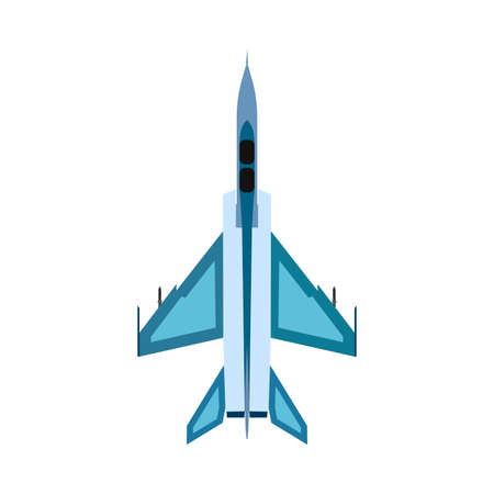 Bomber aircraft top view vector icon. Fight sky technology design attack airforce. Plane military fighter warfare Illustration