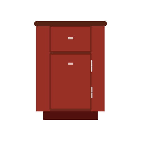 Cabinet apartment equipment isolated box. Interior simple vintage loft contemporary wood icon vector. Ilustração