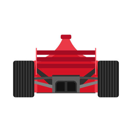 Formula 1 red racing car back view vector icon. Championship one motorsport extreme f1 vehicle drive