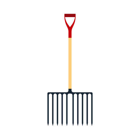 Pitchfork red vector illustration tool icon isolated object equipment. Gardening agriculture fork silhouette farming. Ilustrace