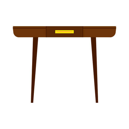 Vector icon table furniture isolated white illustration. Desk design wooden interior background. Kitchen brown shape Çizim