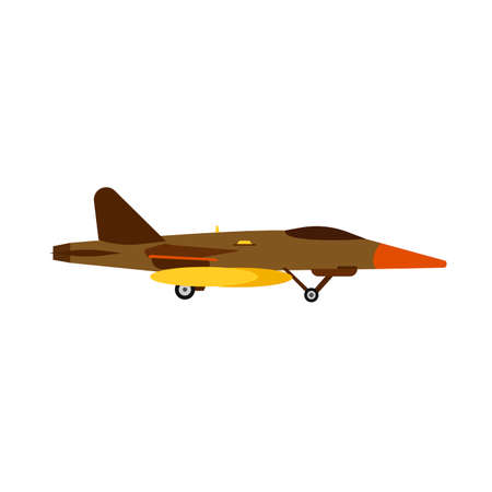 Attack aircraft military vector air aviation jet. Army war plane fighter force side view. Fly missile transport warfare icon Illustration