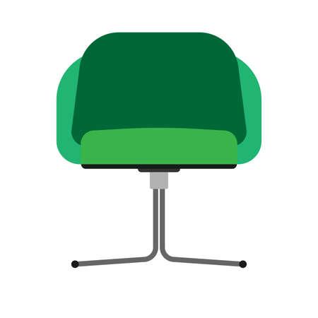 Chair restaurant front view vector icon illustration. Design furniture flat bar interior element. Cafeteria silhouette cartoon