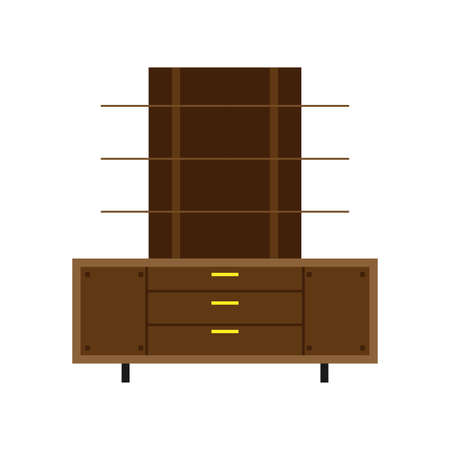 Office cabinet isolated indoor drawer set document storage archive vector icon. Shelf folder wooden room interior furniture