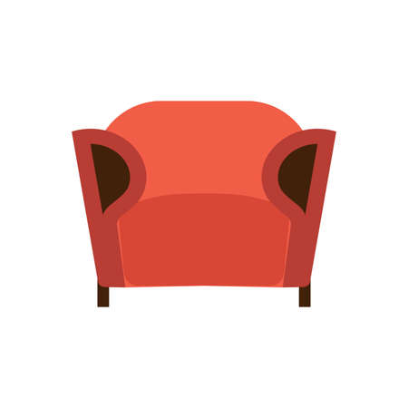 Armchair front view furniture vector icon illustration isolated. Modern interior comfortable home seat relax flat element Ilustração