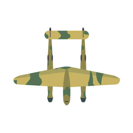 Fighter plane transport top view vector icon defense. Weapon combat attack military warplane illustration above  イラスト・ベクター素材