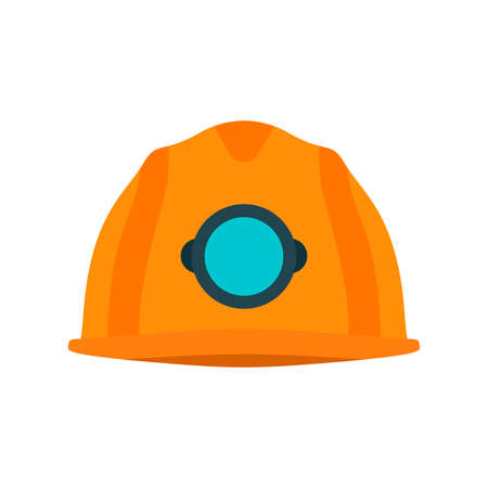 Miner yellow helmet vector icon protection tool. Head uniform worker underground industry. Hardhat equipment Çizim