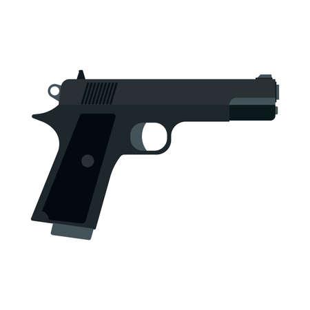 Pistol side view danger metal army graphic defense. Gun flat ammunition caliber 9mm vector icon. Handgun weapon police Illustration