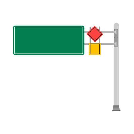 Road direction green sign transportation outdoor pointer warning navigation empty vector