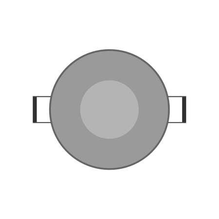 Pan über Ansicht Abendessen Küche Ausrüstungsobjekt. Kochen flaches Werkzeug Edelstahl Vektor Icon Küchentopf Top kitchen