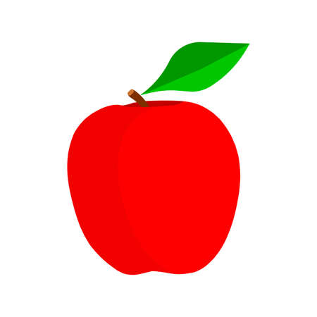 Apple red natural vegetarian vitamin symbol vector icon. Fruit raw plant food leaf. Orchard ripe flat ingredient shape