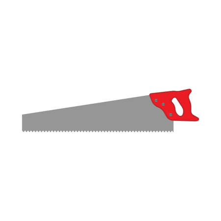 Hacksaw bow constructor tool vector equipment icon. Repair handle blade cut carpentry instrument. Manual craft side view