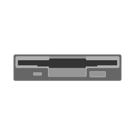 Floppy unit drive disk data vector icon flat. Retro computer hardware technology. Office old diskette element