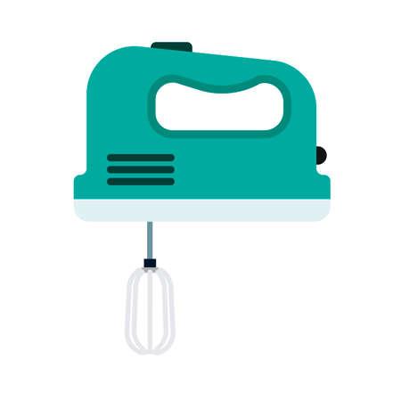 Handmixer flache Haushaltswerkzeugmaschine. Küche-Vektor-Symbol-Utensilien-Kochschneebesen. Geräteausstattung für Mixer