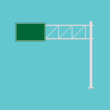 Freeway road sign green direction way vector icon. Urban vehicle information route interstate shield. Roadside panel notice