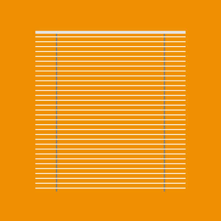 Jalousie blind white window curtain vector icon. Louver home light shutter control. Interior room frame front view