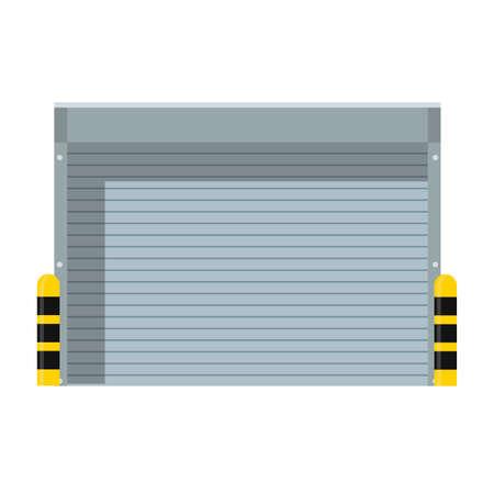 Seguridad de la puerta del metal del icono del vector del obturador del rodillo. Edificio de fachada de puerta de garaje industrial exterior. Fábrica de puertas de aluminio