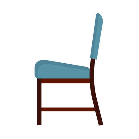 Office chair side view vector icon fruniture. Seat business interior element work job. Black flat ergonomic equipment Illustration