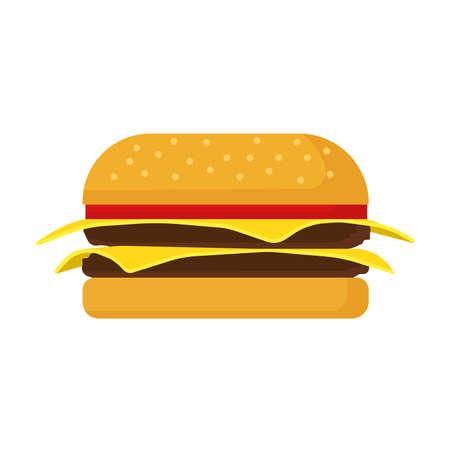 Burger fast food vector icon cheese bread bun meat. Lettuce restaurant menu grilled sesame. Cartoon snack ad bistro