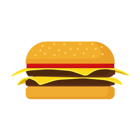 Burger fast food vector icon cheese bread bun meat. Lettuce restaurant menu grilled sesame. Cartoon snack ad bistro