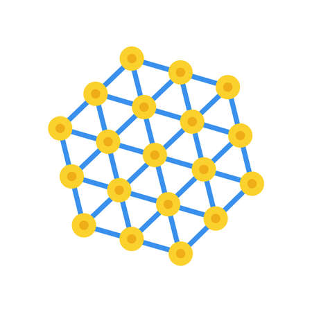 Atom grid vector icon abstract technology connection structure. Science network line dot chemistry cell element.