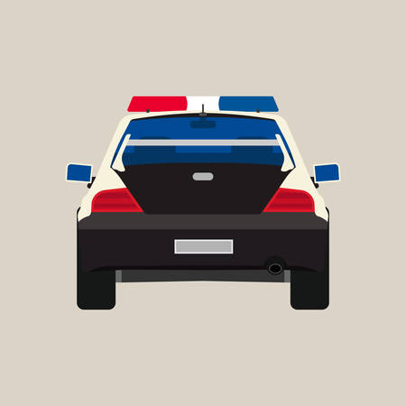 Police car back view vector flat icon. Vehicle cop isolated black patrol crime. Urban guard sheriff sedan headlight