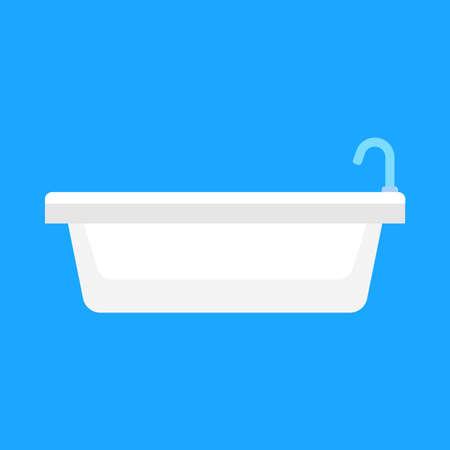 Bathtub bathroom vector icon side view design. Water hygiene cartoon interior shower relax. Ceramic laundered furniture 일러스트