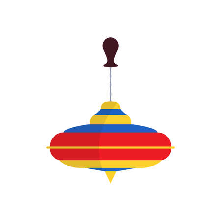 Spinning top vector flat icon toy child. Game isolated fun kid leisure cartoon plastic whirligig. Humming balance rotate baby twirl Çizim
